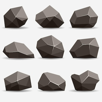 Zestaw kamieni skalnych. kamienie i skały w izometrycznym stylu 3d płaski. zestaw różnych głazów