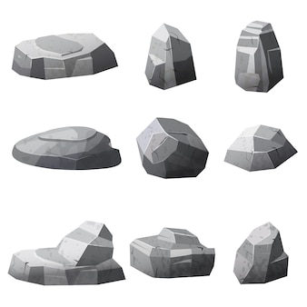 Zestaw kamieni skały gry, aplikacje, stylu kreskówki