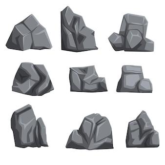 Zestaw kamieni ze światłami i cieniami. elementy krajobrazu skalnego o różnych kształtach i odcieniach szarości. na białym tle