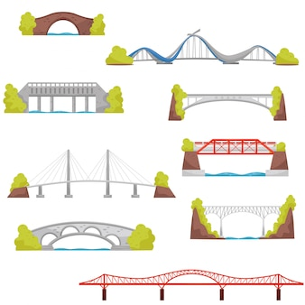 Zestaw kamiennych, ceglanych i metalowych mostów. elementy budowy miasta. motyw architektury