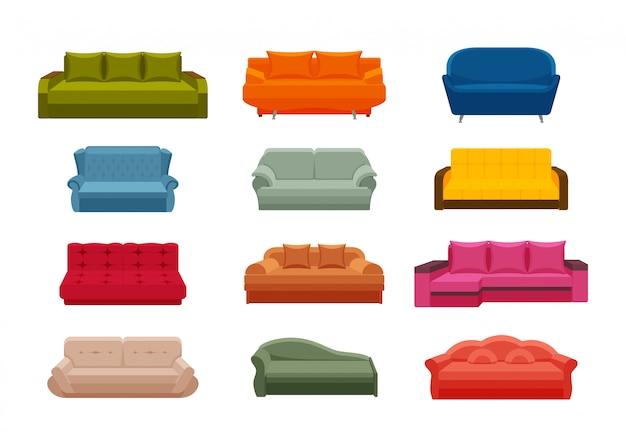 Zestaw kanapa kolorowe ikony. kolekcja mebli do wnętrz domowych. ilustracja w wielkim stylu.
