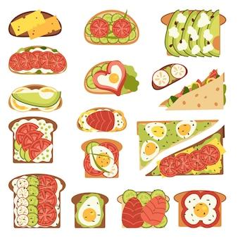 Zestaw kanapek na białym tle na białym tle. ilustracja wektorowa w stylu płaski.