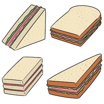 Zestaw kanapek na białym tle
