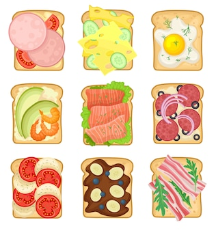 Zestaw kanapek z różnymi składnikami. tosty z chleba z kiełbasą, jajkiem sadzonym, salami, warzywami i boczkiem