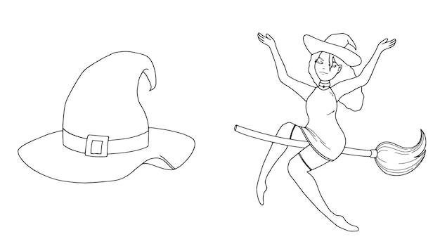 Zestaw kapelusz i wiedźma na miotle liniowy szkic doodle halloween