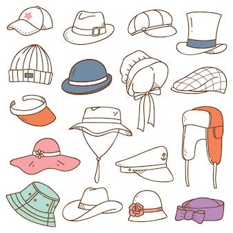 Zestaw kapeluszy doodle na białym tle