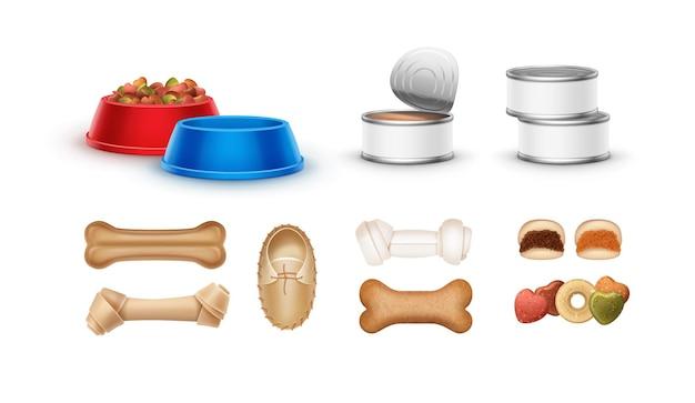 Zestaw karmy dla zwierząt: kości, konserwy, miski i smakołyki