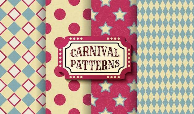 Zestaw karnawałowe retro vintage bezszwowe wzory. teksturowane staromodne szablony tapet cyrkowych. kolekcja wektor tekstury tła płytek. na przyjęcia, urodziny, elementy dekoracyjne.