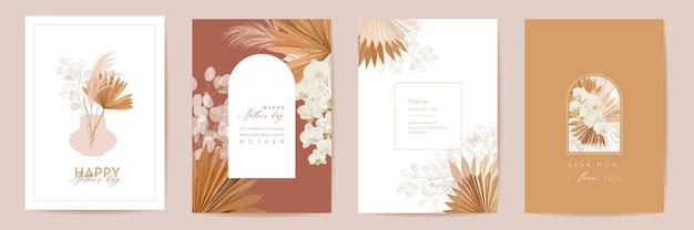Zestaw kart akwarela dzień matki. powitanie mama minimalistyczny projekt pocztówki. wektor tropikalnych kwiatów, liści palmowych szablon. rama sucha trawa pampasowa. typografia bukiet kwiatów orchidei. kobieta nowoczesna broszura