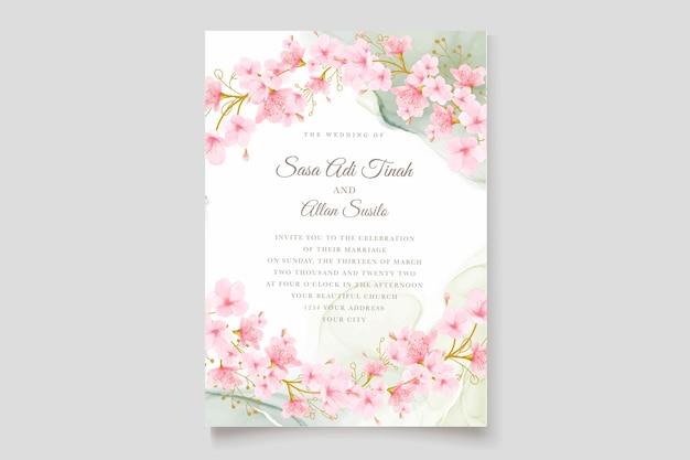 Zestaw kart akwarela kwiat wiśni i liści