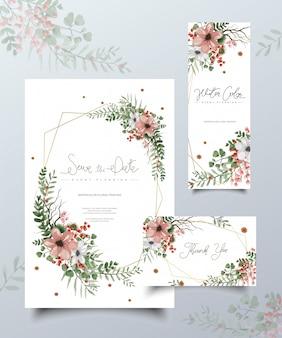 Zestaw kart akwarela malarstwa kwiatowego.