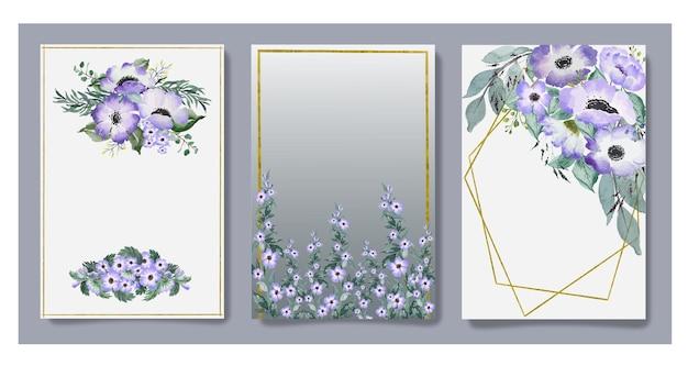 Zestaw kart akwarela szare fioletowe kwiaty i liście