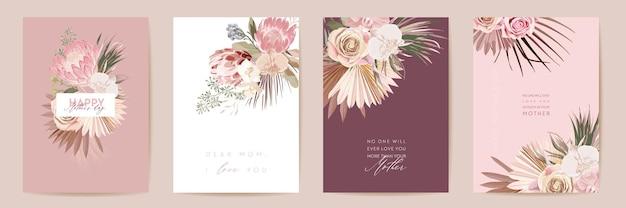 Zestaw kart akwarela szczęśliwy dzień matki. powitanie mama minimalistyczny projekt pocztówki. wektor protea kwiaty, liście palmowe szablon. rama z trawy pampasowej. typografia matki kwiat wiosny. kobieta nowoczesna broszura
