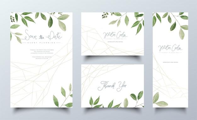 Zestaw kart akwarela z zielonymi liśćmi