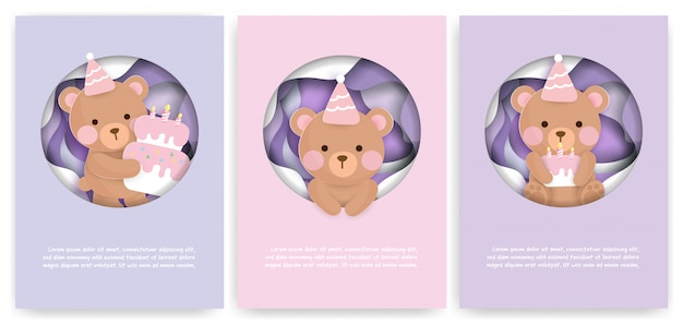 Zestaw kart baby shower i urodzinowych z słodkim misiem i ciastem.