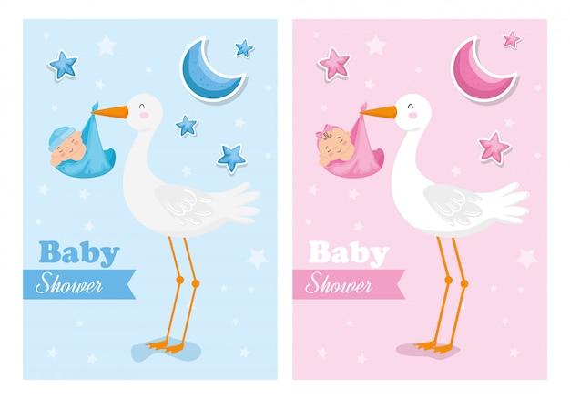 Zestaw kart baby shower z bocianami i niemowlętami