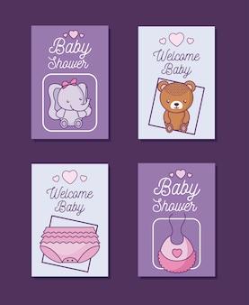 Zestaw kart baby shower z dekoracją