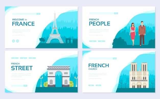 Zestaw kart broszur tradycyjnych zabytków. etniczny szablon flyear, baner internetowy, nagłówek interfejsu użytkownika, wejdź na stronę.