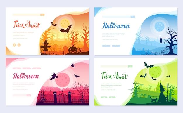 Zestaw kart broszury czasu halloween. szablon ulotki w orientacji poziomej, baner internetowy, nagłówek interfejsu użytkownika, wejście do witryny.