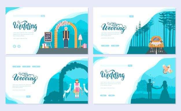 Zestaw kart broszury dzień ślubu. szablon ulotki, baneru internetowego, nagłówka interfejsu użytkownika, wprowadź witrynę.