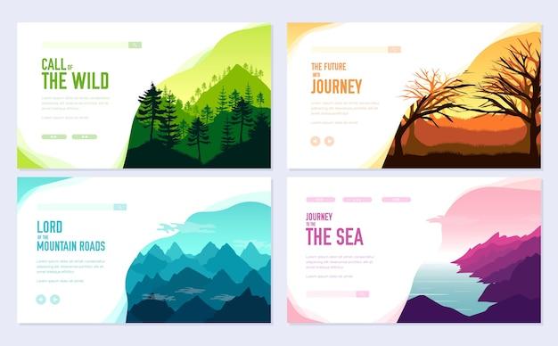 Zestaw kart broszury przyrody. szablon ekologii ulotki, baneru internetowego, nagłówka interfejsu użytkownika, wejście do witryny.
