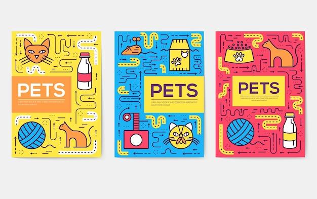 Zestaw kart cienkich linii kotów rasy