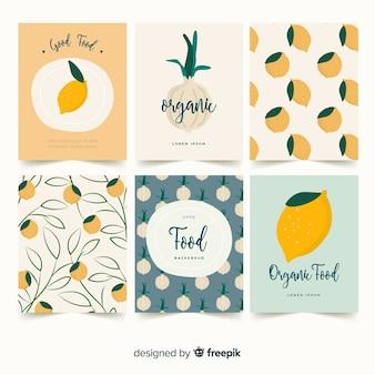 Zestaw kart cytryny i cebuli
