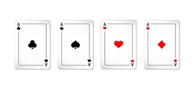 Zestaw kart czterech asów do gry w pokera i kasyna