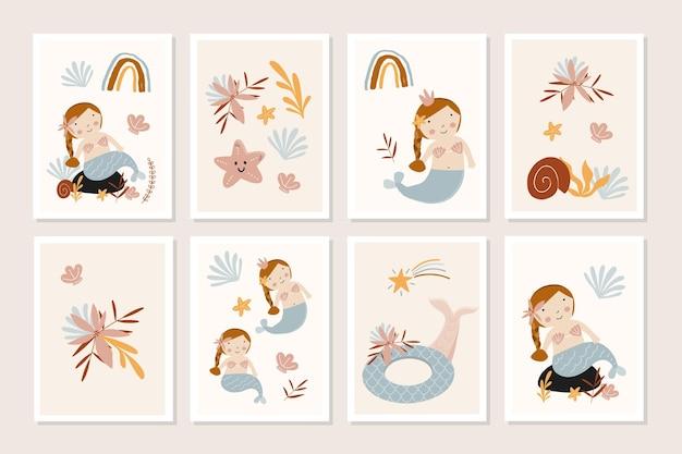 Zestaw kart dla dzieci z uroczymi syrenami