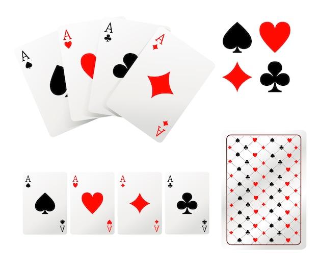 Zestaw kart do gry asa. tylna strona. ilustracja na białym tle. strona internetowa i aplikacja mobilna.