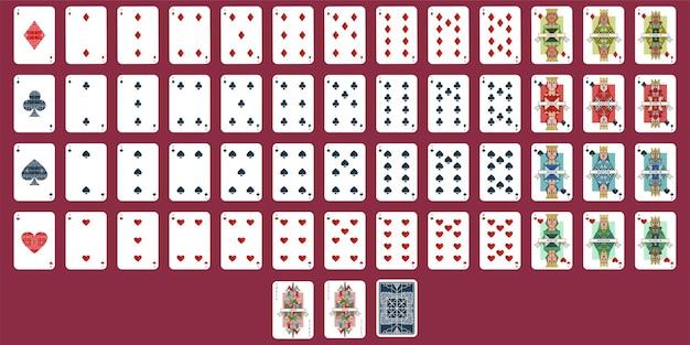 Zestaw kart do gry. pełna talia do pokera na białym tle.