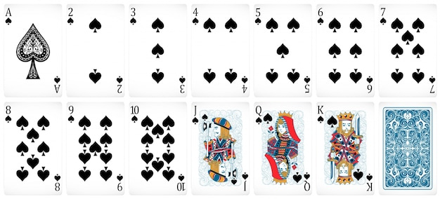 Zestaw kart do gry w pokera z przodu iz tyłu