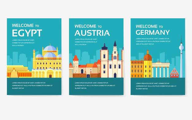 Zestaw kart do kraju egiptu, austrii, niemiec, indii, rosji, tajlandii, japonii, włoch. podróż po świecie ulotek, czasopism, plakatów, okładek książek, banerów. układ strony ilustracji szablonu infografiki