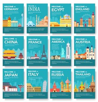Zestaw kart do kraju egiptu, austrii, niemiec, indii, rosji, tajlandii, japonii, włoch.