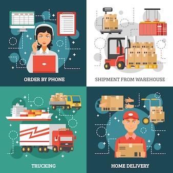 Zestaw kart dostawy logistyki
