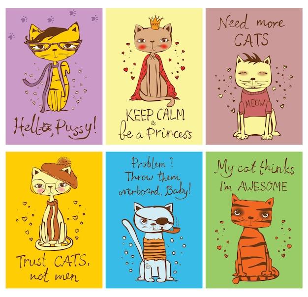 Zestaw kart ector z uroczymi kotami i ręcznie rysowane śmieszne teksty kotów.