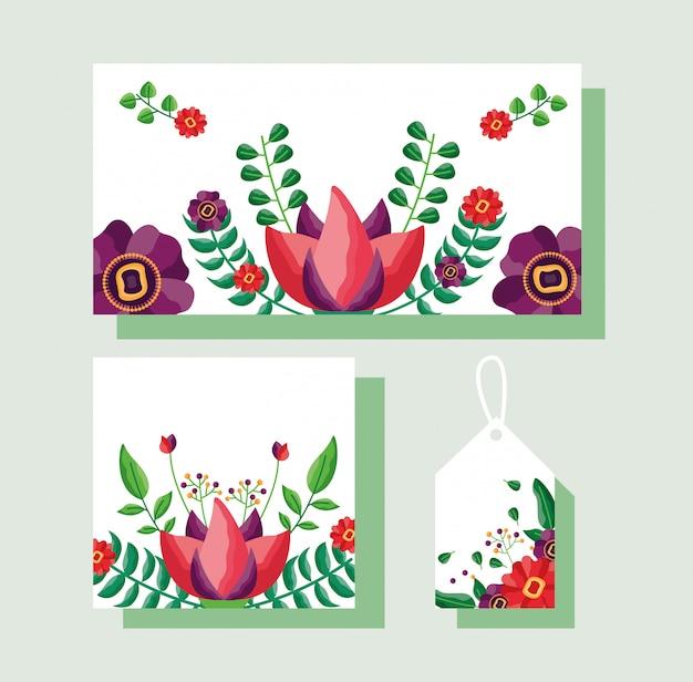 Zestaw kart, etykiet lub tagów z motywem kwiatów