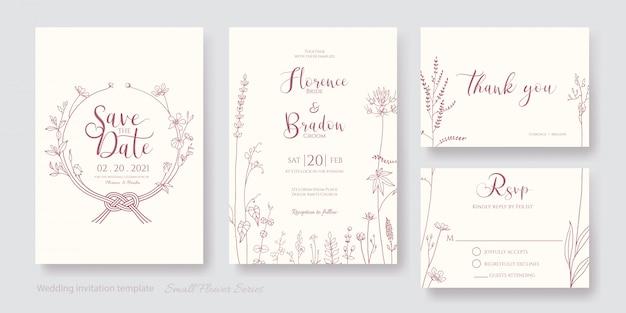 Zestaw kart graficznych linii zaproszenia kwiat, zapisz datę, dziękuję, szablon rsvp.