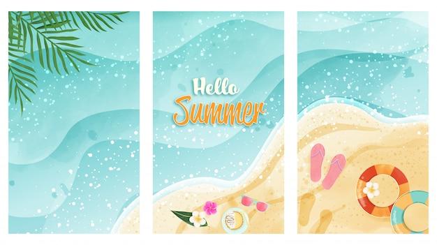 Zestaw kart hello summer przedstawia akwarelową plażę. widok z góry i ma miejsce na kopię. projekt karty, plakatu, bonu prezentowego i innych elementów.