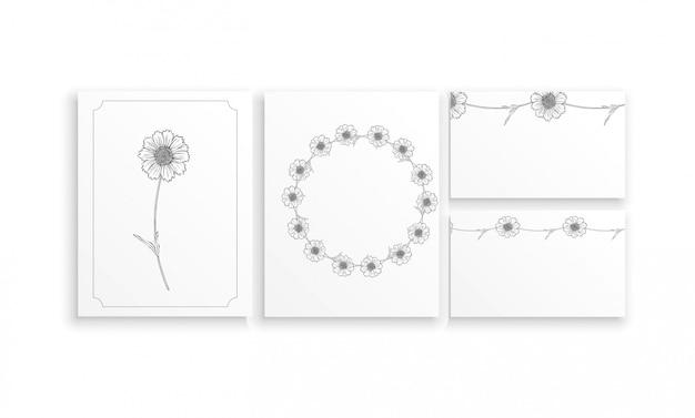 Zestaw kart i wizytówek z graficznym układem kwiatowym z kwiatami rumianku