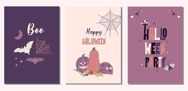 Zestaw kart ilustracja halloween. dynia, nietoperze, elementy pajęczyny.