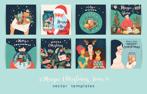 Zestaw kart ilustracji boże narodzenie i szczęśliwego nowego roku