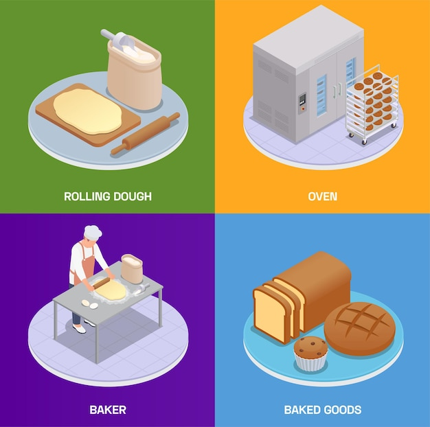 Zestaw kart izometryczny piekarni