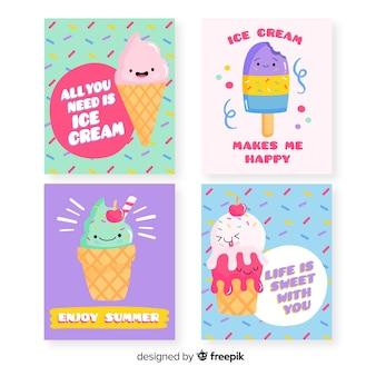 Zestaw kart jedzenie słodkie lody