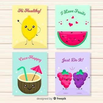 Zestaw kart jedzenie słodkie owoce