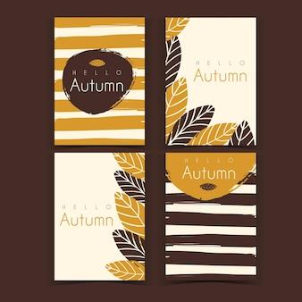 Zestaw kart jesień ręcznie rysowane