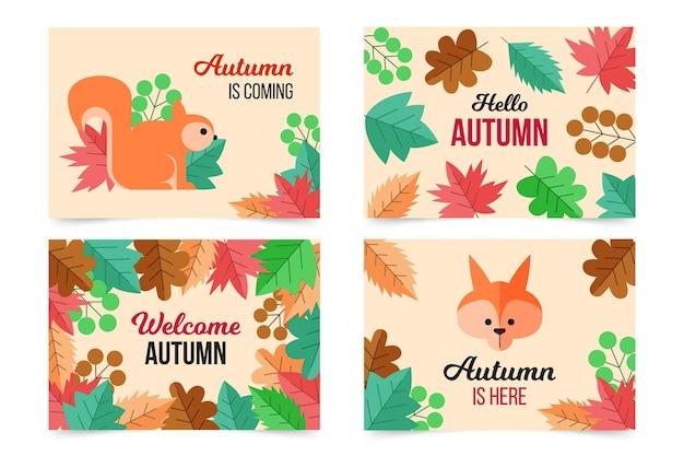 Zestaw kart jesiennych płaska konstrukcja