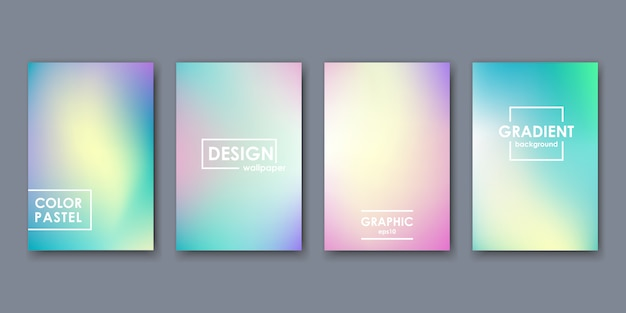 Zestaw kart kolorów gradientu.