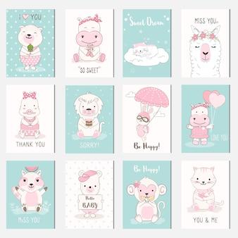 Zestaw kart kreskówka cute baby zwierząt