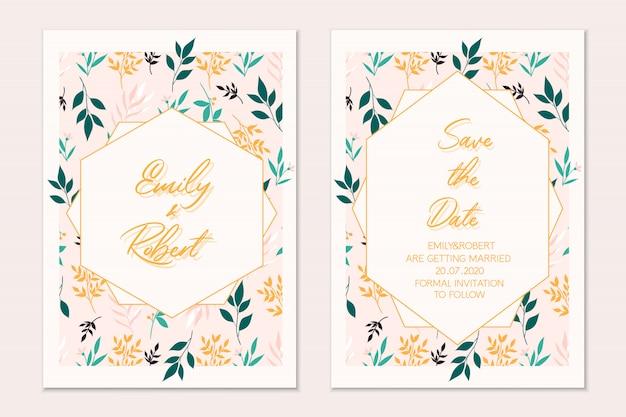 Zestaw kart kwiatowy. karta botaniczna. zaproszenie na ślub